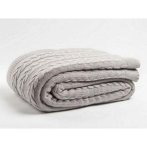 Manta Loure - Tartan - para el sofa, la cama - Beige en Acrilico, 200 x 240cm, -