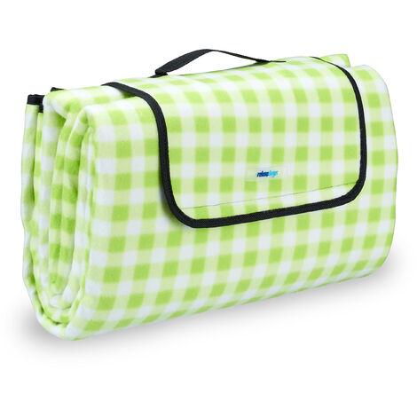 Manta para pícnic XXL, Manta para playa, Plegable, Con asa, Con cuadros, Verde y blanco, 200x200 cm