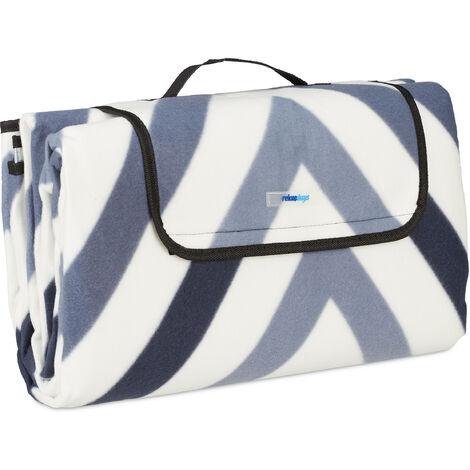 Manta Picnic XXL, 200 x 200 cm, Esterilla Playa, Estera césped, Aislante e Impermeable, con Asa, Azul y Gris