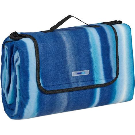 Manta Picnic XXL, 200x200 cm, Esterilla Playa, Estera Picnic, Aislante e Impermeable, Revestida Aluminio, Azul