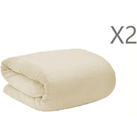 Manta Polar Beige para Sofá o Cama poliéster 100% en Set de 2, Textura Extra Suave 190x130 cm