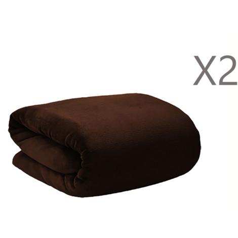 Manta Polar Marrón para Sofá o Cama poliéster 100% en Set de 2, Textura Extra Suave 190x130 cm