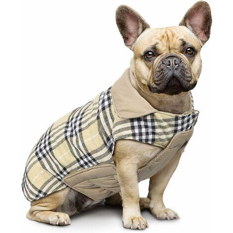 Manteau à Carreaux réversible pour Chien Automne Hiver Gilet Confortable et Manteau à Rembourrage pour Chien pour Petits et Grands Chiens de Taille Moyenne Beige-L