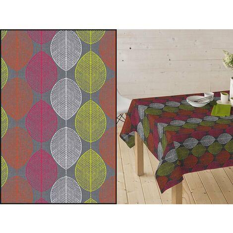 Mantel Resinado Estampado hojas TARDOR. Color Gris/Naranja/Fucsia.