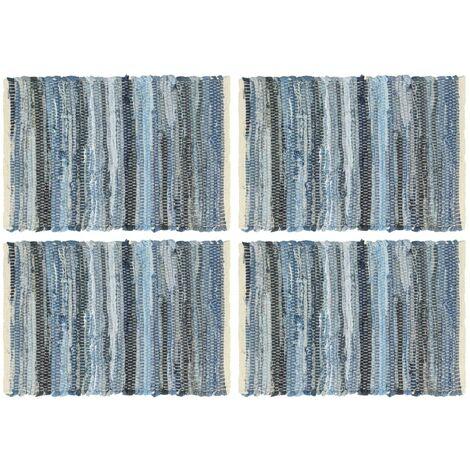 Manteles individuales 4 uds Chindi vaquero algodón azul 30x45cm