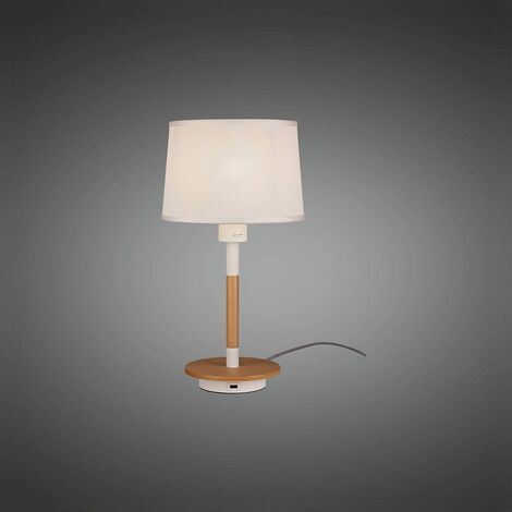 Mantra M5464 Nordica II Table Lamp With USB Socket, 1x23W E27, White/Beech With White Shade