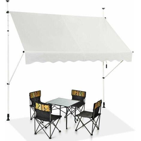 """main image of """"Manual Awning Canopy Outdoor Patio Garden Sun Shade Retractable Shelter Beige"""""""