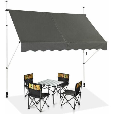 "main image of ""Manual Awning Canopy Outdoor Patio Garden Sun Shade Retractable Shelter Gray"""