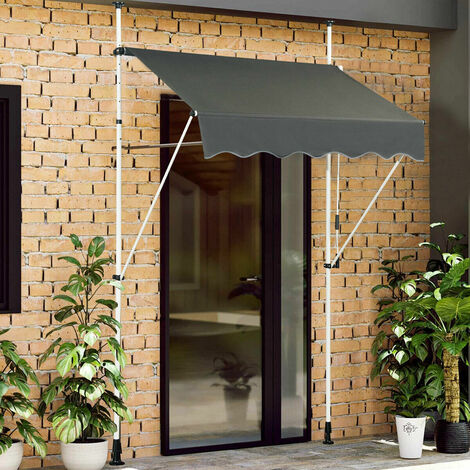 Manual Awning Canopy Outdoor Patio Garden Sun Shade Retractable Shelter Gray