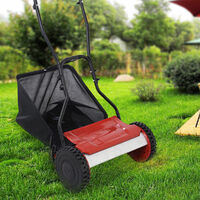 Manual Cylinder Mower Push Garden Patio Grass Lawnmower Cutter 38cm Cutting UK