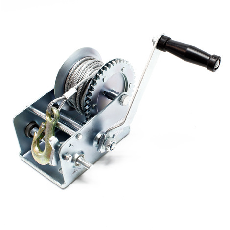 Manual Hand Wire Winch with 1100kg Tensile Force 8m Rope Length 4:1 8:1 Gear Car Boat Trailer