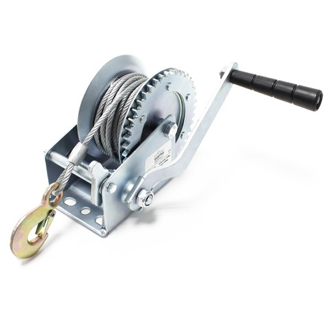 Manual Hand Wire Winch with 550kg Tensile Force 10m Rope Length 4:1:1 Gear Car Boat Trailer Caravan