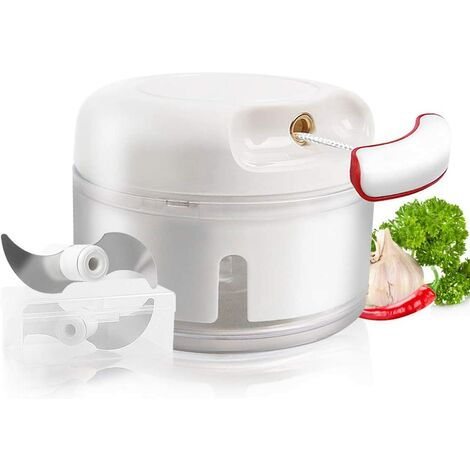 Manual Mini Garlic Chopper Tool Pull Chopper Chain Vegetable Chopper Portable Design Multifunction Mixer Grinder Food Processor Tool for Baby Food, Ginger, Chili Pepper