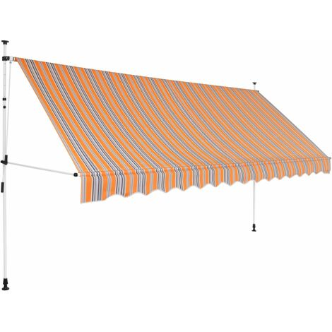 Manual Retractable Awning 400 cm Yellow and Blue Stripes