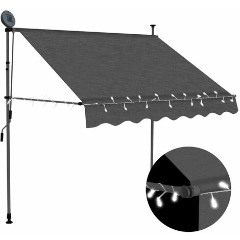 Manual Retractable Awning with LED 150 cm Anthracite