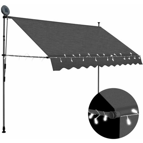 Manual Retractable Awning with LED 300 cm Anthracite