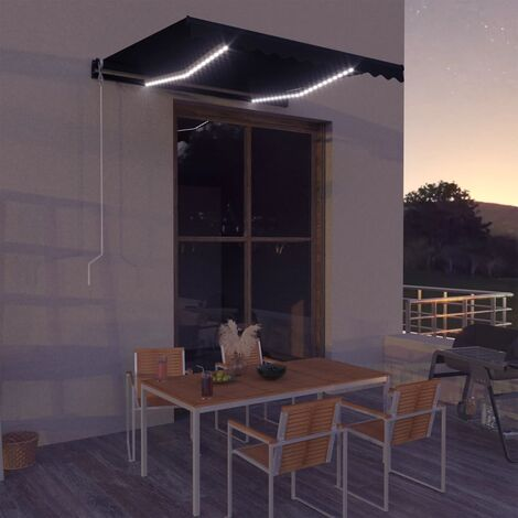 Manual Retractable Awning with LED 300x250 cm Anthracite