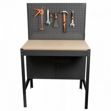 MANUPRO Etabli d'atelier métallique et bois - 2 portes - Panneau perforé - L.90 x P.60 x H.144 cm