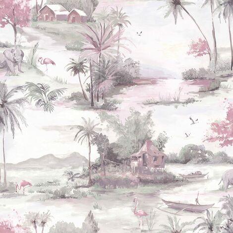 Manyara Wallpaper Elephant Trees Flowers Jungle Birds Boats Flamingos Holden 90150