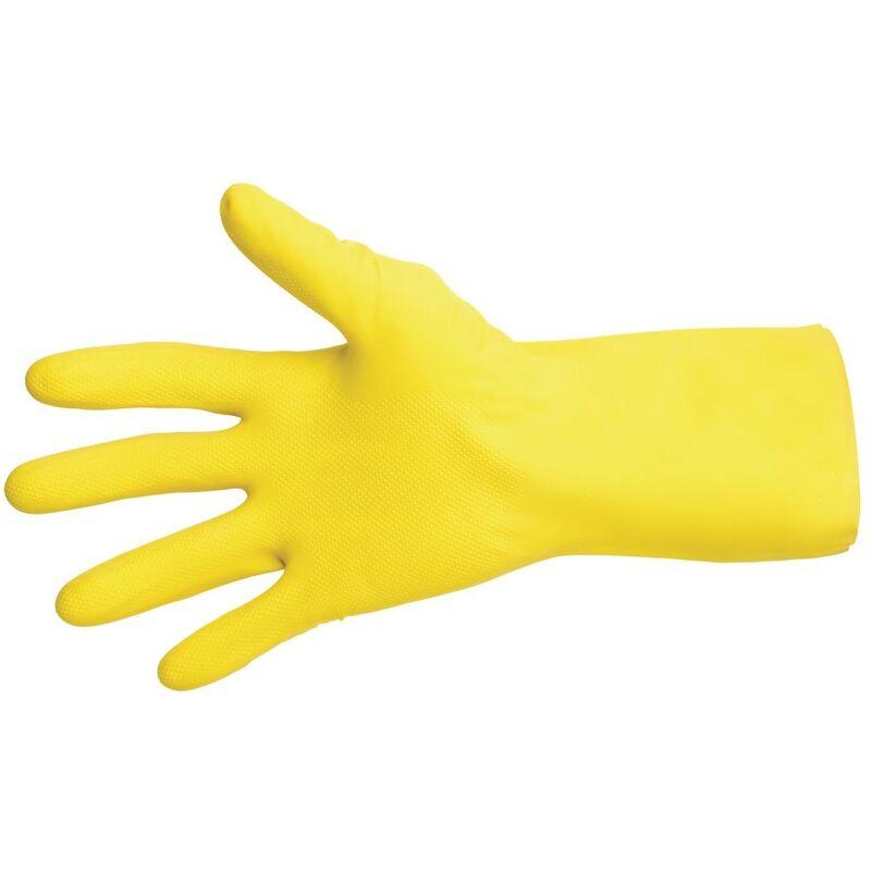 MAPA Vital 124 Liquid-Proof Light-Duty Janitorial Gloves Yellow Medium - FA292-M