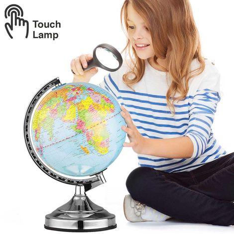 Mappamondo Lampada da Tavolo Accensione Touch 3 Luminosita Cartina Politica 33cm