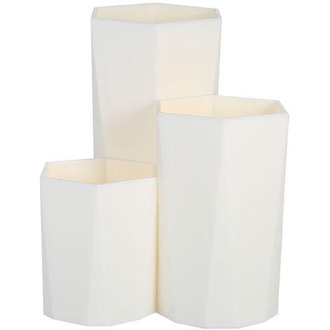 Maquillaje portaescobillas con caja de almacenamiento Prisma hexagonal 3 tubo de almacenamiento titular pluma de los cepillos Lapiz Regla Hexagono Envase para el dormitorio del hogar, blanca