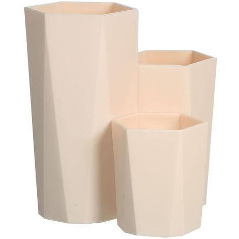 Maquillaje portaescobillas con caja de almacenamiento Prisma hexagonal 3 tubo de almacenamiento titular pluma de los cepillos Lapiz Regla Hexagono Envase para el dormitorio del hogar, de color caqui