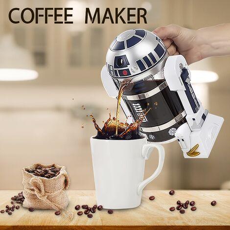 Máquina de café creativa con forma de robot 32 oz 960 ml Hogar café francés hecho a mano Tee Press Pot para café exprés / café americano Hasaki
