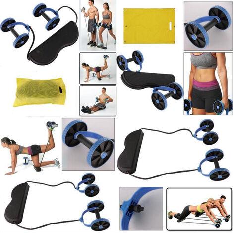 Máquina de entrenamiento abdominal con ruedas de rodillo AB doble Máquina de entrenamiento abdominal- Azul
