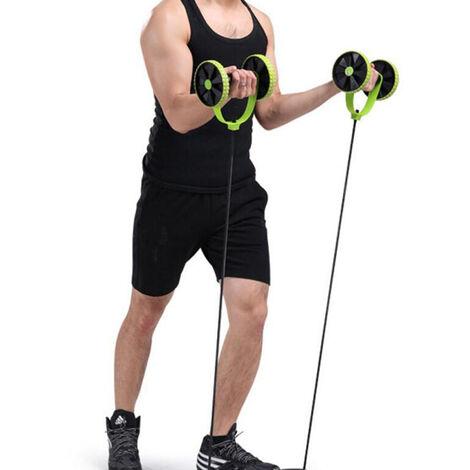 Máquina de entrenamiento abdominal con ruedas de rodillo AB doble Máquina de entrenamiento abdominal-verde