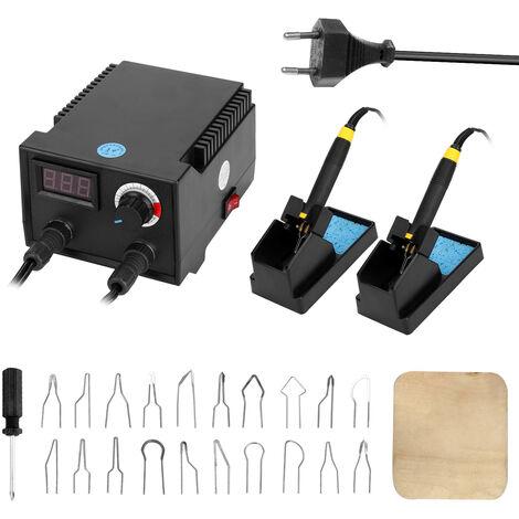 Maquina de pirograbado de madera de calabaza electrica multifuncional con pantalla digital de 100 vatios, con 20 cabezas de boligrafo calefactor
