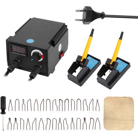Maquina de pirograbado de madera de calabaza electrica multifuncional con pantalla digital de 100 W, con cabezales de boligrafo calefactor de 30 piezas