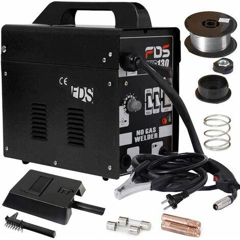 Máquina de Soldadura FLUX Gas Inerte MIG 130 Electrodos Soldador (Negro)