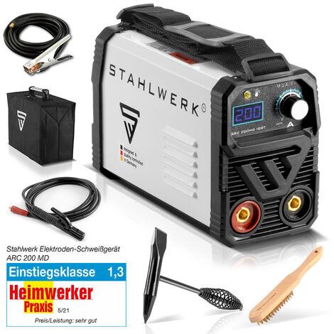 Máquina de soldadura STAHLWERK ARC 200 MD IGBT - MMA / dispositivo de soldadura de electrodos con 200 amperios muy compacta, blanca, 7 años de garantía del fabricante*
