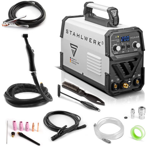 Máquina de soldadura STAHLWERK DC TIG 200 ST IGBT - máquina de soldadura combinada con 200 Amperio y MMA soldadura de electrodos, 7 años de garantía*