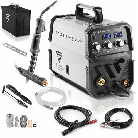 Máquina de soldar STAHLWERK MIG 200 ST IGBT - máquina de soldar MIG MAG con gas de protección y 200 Amperio, función MMA, adecuada para FLUX, 7 años de garantía *