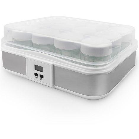 Maquina para Hacer Yogur Casero, Yogurtera, 12 tarros, con el contador de tiempo, 30,6 x 25 x 12,4 cm, Blanco, Capacidad por frasco: 0,21 L