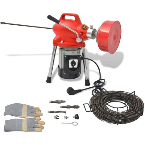 Máquina para limpieza de tuberías 250 W 12,5mx16mm 4,5mx9,5mm