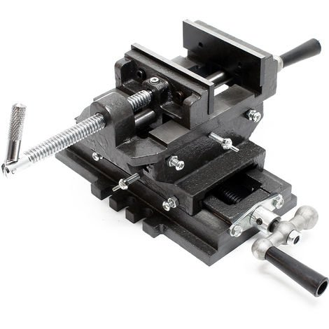 Máquina tornillo banco 2 Ejes 75mm Tornillo banco Mesa cruz Banco trabajo Taller Perforación Fresado