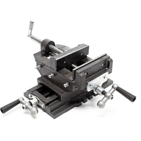 Máquina tornillo banco 2Ejes 200mm Tornillo banco Mesa cruz Banco trabajo Taller Perforación Fresado