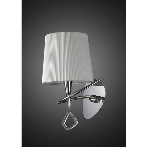 Mara wall light with 1-light switch E14, polished chrome with ivory white