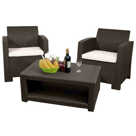 Marbella 2 Seat Rattan Armchair Outdoor Garden Set Coffee Table Brown Cream