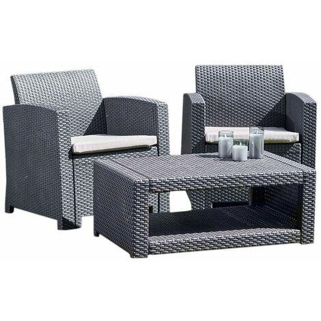 Marbella 2 Seat Rattan Armchair Outdoor Garden Set Coffee Table