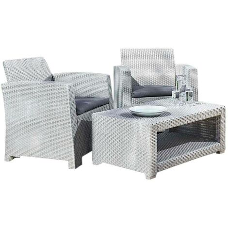 Marbella 2 Seat Rattan Armchair Outdoor Garden Set Coffee Table Grey