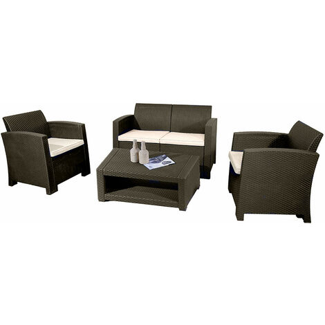 Marbella 4 Seater Rattan Sofa Outdoor Garden Set Coffee Table Brown Cream