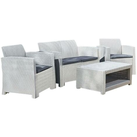 Marbella 4 Seater Rattan Sofa Outdoor Garden Set Coffee Table Grey