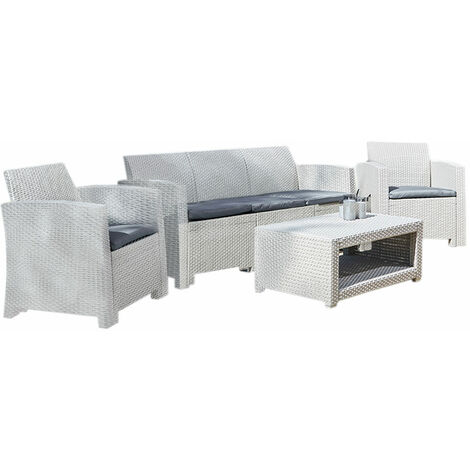 Marbella 5 Seater Rattan Sofa Outdoor Garden Set Coffee Table Grey
