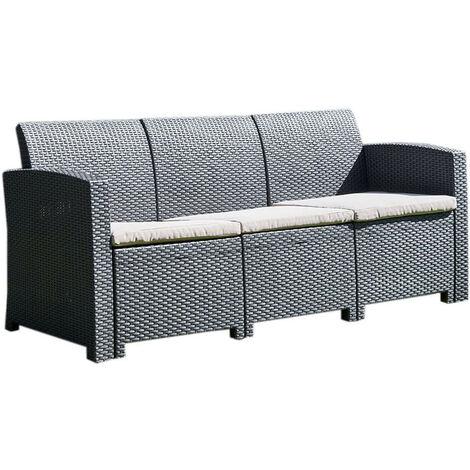 Marbella Graphite 3-Seater Rattan Effect Sofa Outdoor Garden Patio Furniture