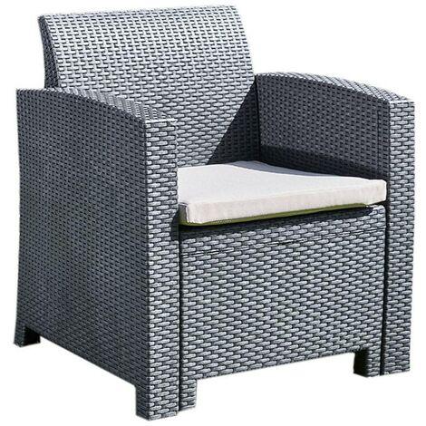 Marbella Outdoor Rattan Armchair Garden Furniture in Graphite with Cream Cushion