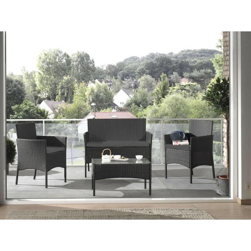 Marbella - Salon bas de jardin 4 places - en résine tressée - Noir avec coussins gris Couleur - Noir - Noir / Gris